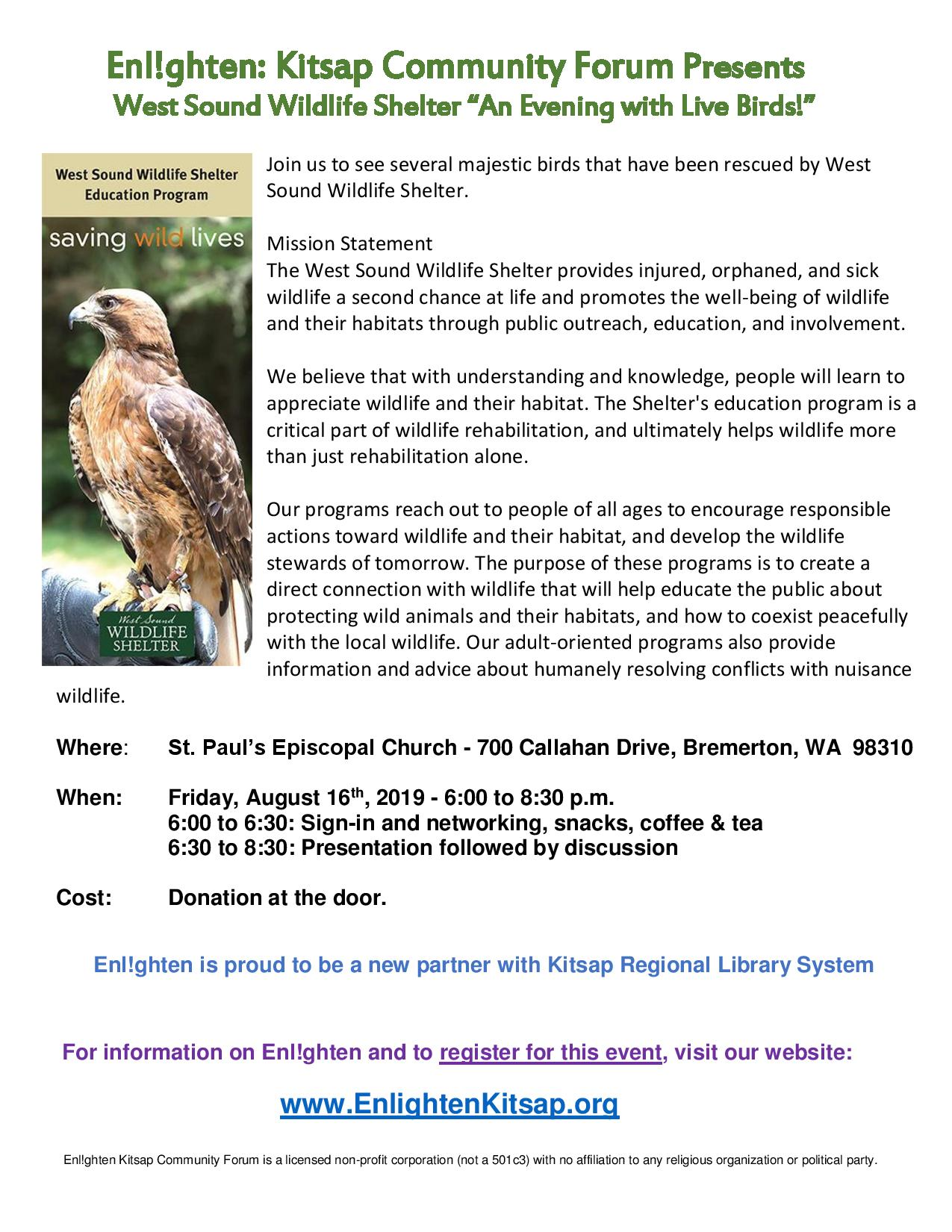 Enlighten Kitsap Community Forum presents West Sound Wildlife Shelter