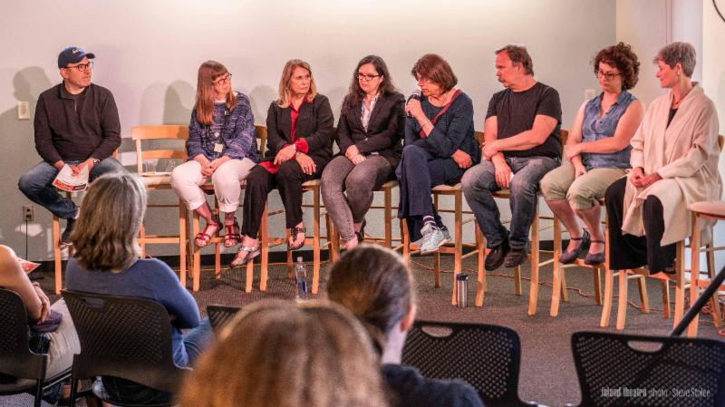 MEET THE PLAYWRIGHTS (pictured above L to R): Dan Rosenberg, Diane Walker, Maria Vierra Beatty, Tamara Rockwood, Eve Palay, Jeff Fraga, Jennifer Pippin-Montanez and Catherine Rush; not shown—Connie Bennett, Robert Craighead. Island Theatre photo by Steve Stolee from the public panel discussion with the playwrights, May 31.